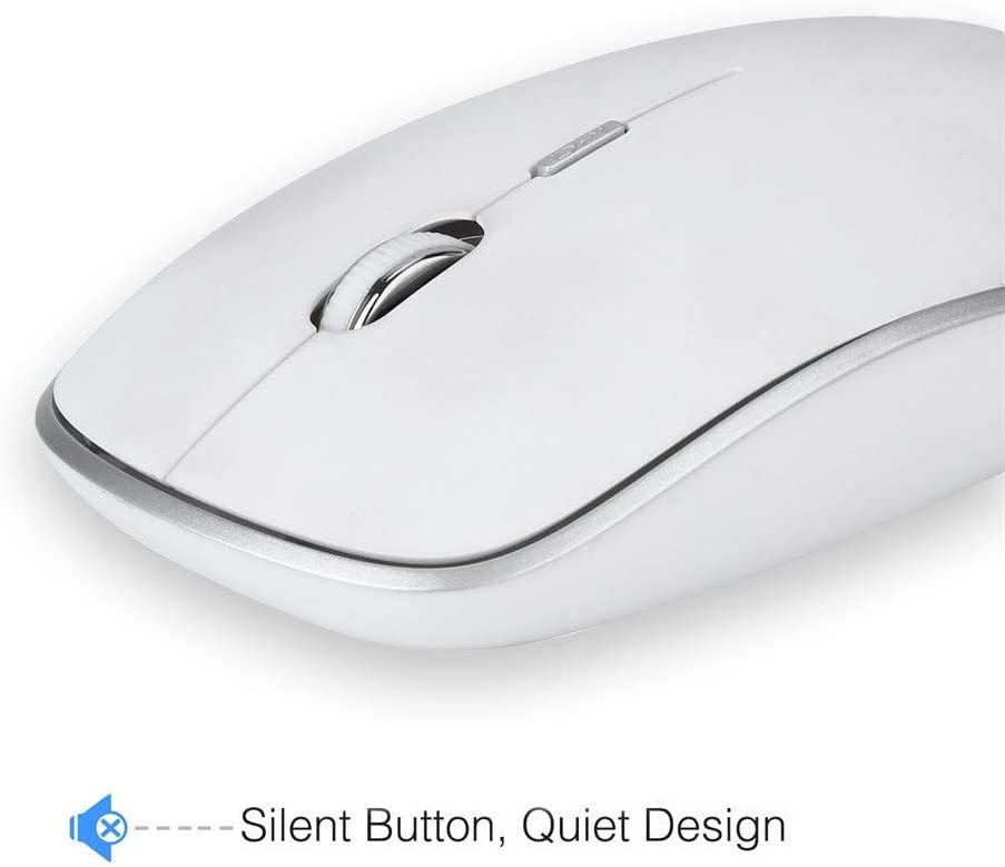 White Wireless Keyboard and Mouse Set Slim Full Size Design