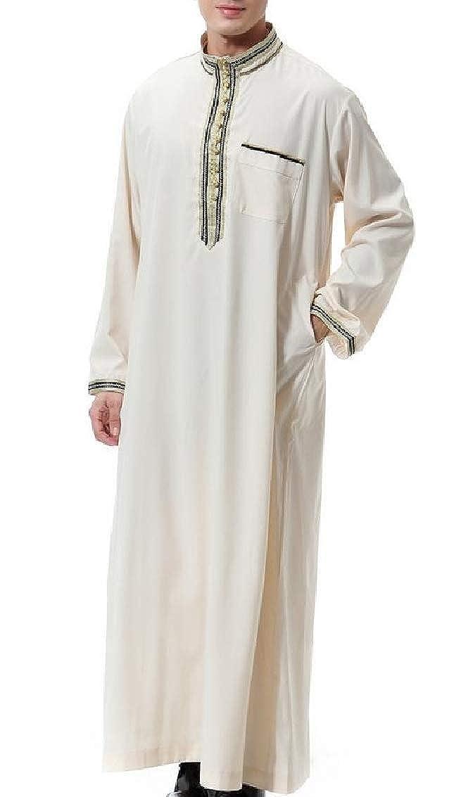 YULEgowinner Mens Saudi Abaya Muslim Dubai Long Sleeve Stand Collar Robe