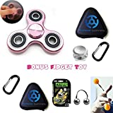 PREMIUM Rose Gold/Pink Aluminum Tri Fidget Hand Spinner in Metal BONUS Sleek Travel Case and Cool Finger Figit Flip Toy - Best EDCFocus Anxiety and Stress Reducer Toys Set - 3/5 Minute Spin Time