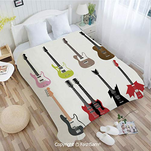 (PUTIEN 3D Print Flannel Blanket Graphic Collection of Guitars Colorful Stringed Instruments Fretboard Rock Blues Decorative Blanket for)