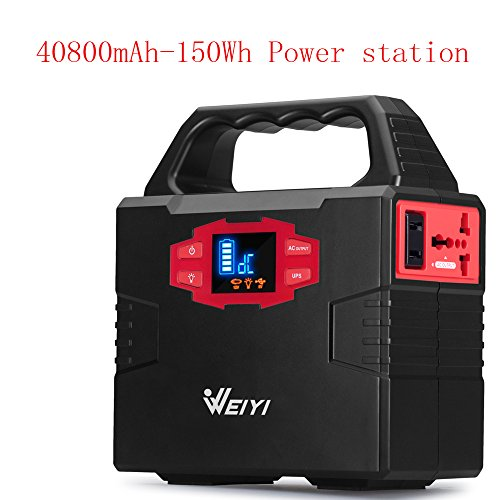 WEIYI 100-Watt Portable Solar Generator Power Station Power Inverter-Gas-free With Outputs AC 110V (Max 150Wh) 2USB-3.5A ,3DC-12V/15A, Charged by Solar/AC. Built-in Li-on Battery Capacity 40800mAh