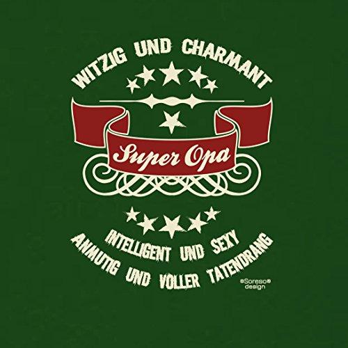 Großvater Fun-T-shirt als Top Geschenk mit GRATIS Urkunde - Super Opa Farbe: dunkelgrün Gr: 3XL