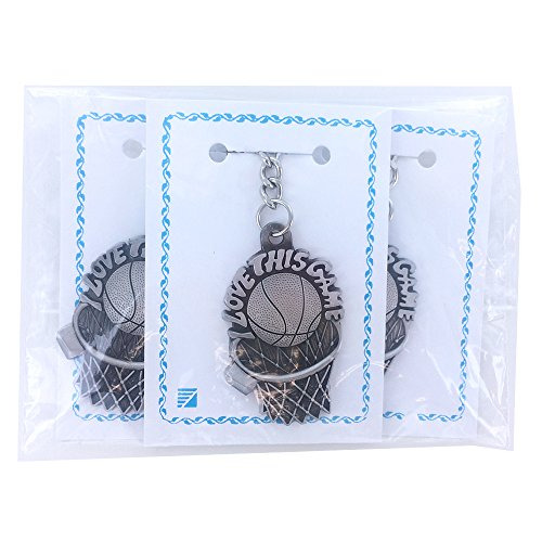 Basketball I Love This Game Antique Pewter Finish Keychain with Split Key Ring and Chain - Pack of 3