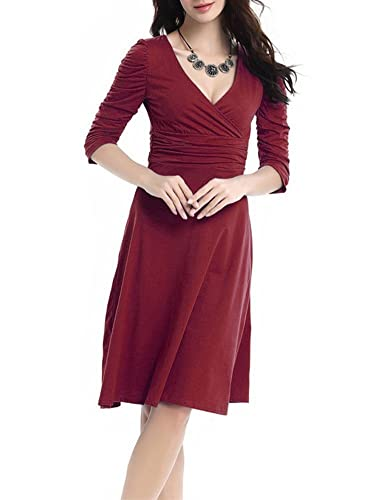 Sinotina Women 3/4 Sleeve Ruched Waist Classy V-Neck Casual Cocktail Dress