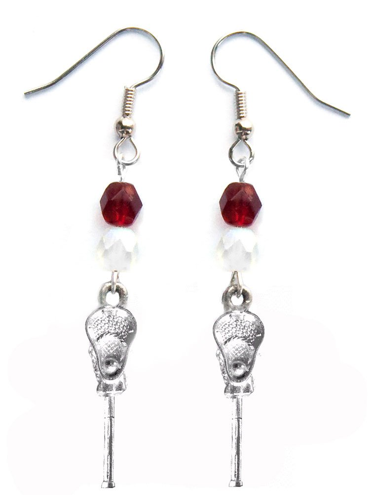 ''Lacrosse Stick & Ball'' Lacrosse Earrings (Team Colors Maroon & White)