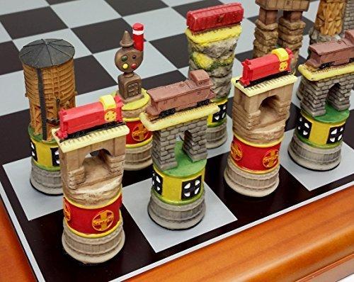 Santa Fe TRAINS Steam vs Diesel Train Engine Chess Set W/ 15 5/8` Black & Silver Boardの商品画像