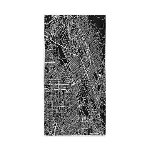 Semtomn 30 x 60 Inches Bath Towel San Jose California Downtown Map City Name on Separate Soft Absorbent Travel Guest Decor Hand Towels Washcloth for Bathroom(One Side Printing) -