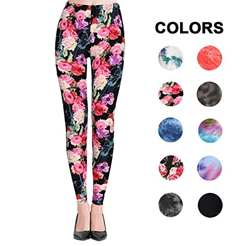 Reg Patterned - High Waisted Leggings for Women - Ultra Soft Stretchy Workout Pants – Reg/Plus Size (Flower, Plus Size (12-24))