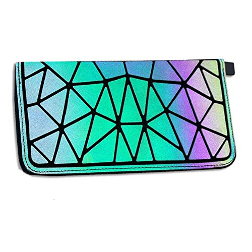 Chiclinco Iridescent Geometric Long Lattice Wallets Luminous Women Zip Around Clutch Purse (Geometric 3) - Dual Zip Wallet Organizer