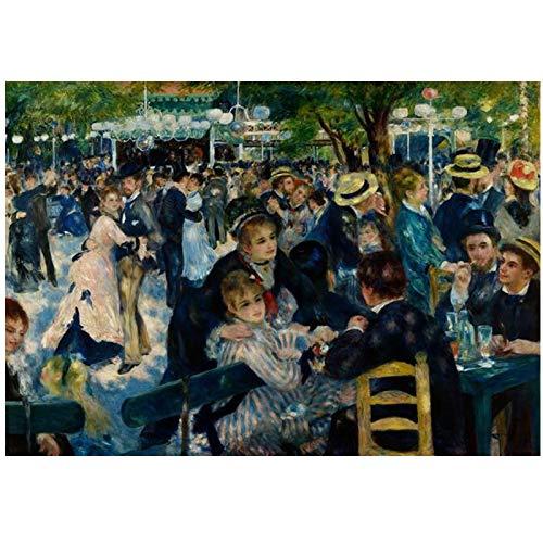 yhyxll Renoir-Dance At Le Moulin De La Galette Pinturas en Lienzo Famosos Carteles artisticos de Pared Impresiones Cuadros de Pared Decoracion-60X90Cm Marco Interior de Madera