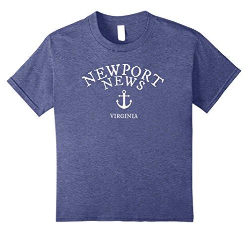 Kids Newport News Virginia T-Shirt, Nautical Theme Sea Tee 10 Heather - Newport News Fashion