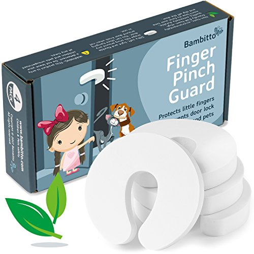 Finger Pinch Guard Door Stopper - Baby Proof Doors, Protect Child Fingers with Soft Durable Safety Foam Guard 4pk. Draft Stop Cushion, Slam Bumper. Prevent Kids & Pets from Getting Locked in Room!