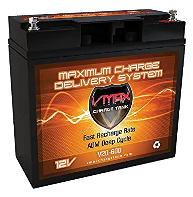 "VMAX V20-600 12V 20AH AGM Deep Cycle Battery (7""w x 3""d x 6.6""h) for Berkley BTX25 - Saltwater 12V 25lbs Trolling Motor"