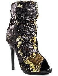 Marlow Sequin Peep Toe High Heel Sexy Dress Bootie