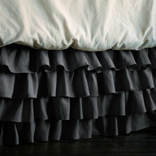 """UPC 889318444849, New Luxurious Multi Ruffle Bed Skirt 400 Thread Count Twin Size Solid Elephant Grey with 24"""" Drop Length By Sam Stores Bedding"""