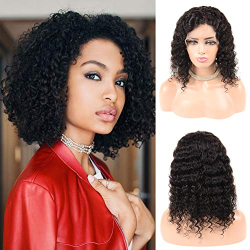 JOYFUL QUEEN 13x6 Lace Front Human Hair Wigs For Black Women Brazilian Kinky Curly Lace Front Wigs Pre Plucked With Baby Hair Natural Color 10 Inches(150% Density, Free Part)