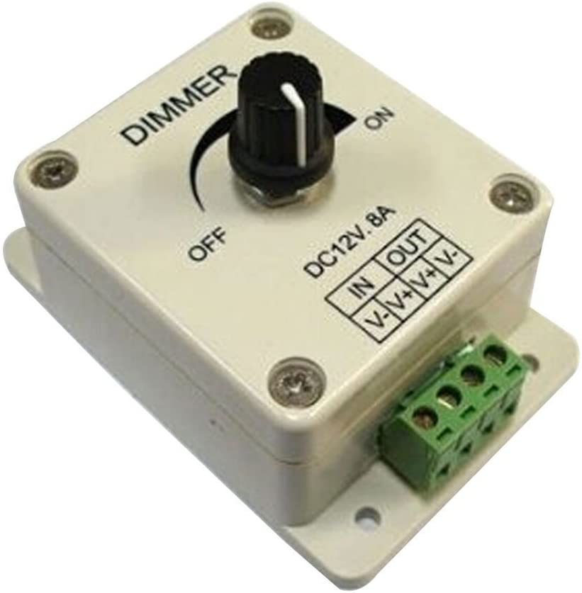 LED Lights With High-Power Dimmer, Monochrome Light Bar Controller, 12V, 8A