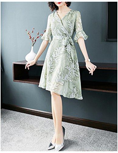 Vestito Cotyledon Donne Irregolarità Di `s Verde Delle Stampato Una Manica Abiti Chiarore Linea RrORw