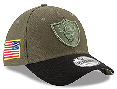 """Oakland Raiders New Era NFL 39THIRTY 2017 Sideline """"Salute to Service"""" Hat"""