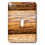 3dRose Alexis Photography - Texture Wood - Image of three horizontal timber logs. Detail view of a wooden wall - Light Switch Covers - single toggle switch (lsp_286664_1)