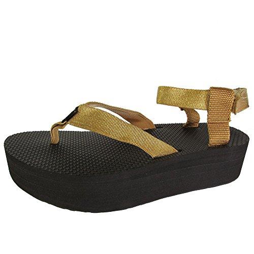 Teva Women's Flatform Sandal Gold 11 M