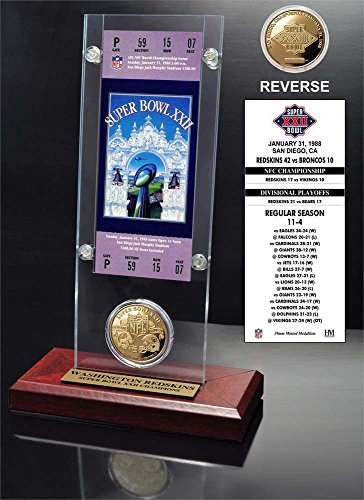 NFL Washington Redskins Super Bowl 22 Ticket & Game Coin Collection, 12'' x 2'' x 5'', Black by The Highland Mint
