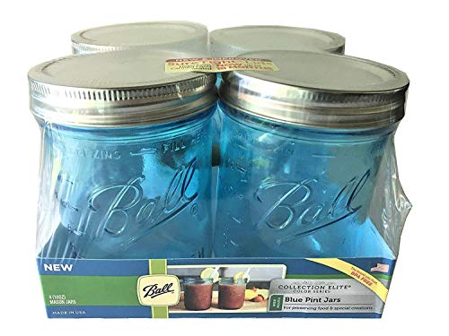 Ball Pint Size Wide Mouth Canning Jars | 16-oz | Collection Elite Series | Blue (4-Pack) ()