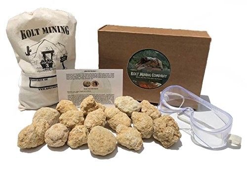 Kolt Mining Break Your Own (15) Medium sized (2-3 inch) Geodes with instructional card, canvas bag, and safety googles by Kolt Mining