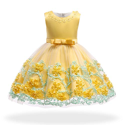 Dhiuow Baby Girls Flower Dress Wedding Party Toddler Dres Birthday Special Occasion Girls Dress Yellow 4-5T