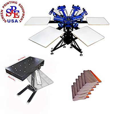 6-6 Double Wheel Screen Printing Machine Kit Screen Printing Press with 1800W Flash Dryer 65 Duro Squeegee