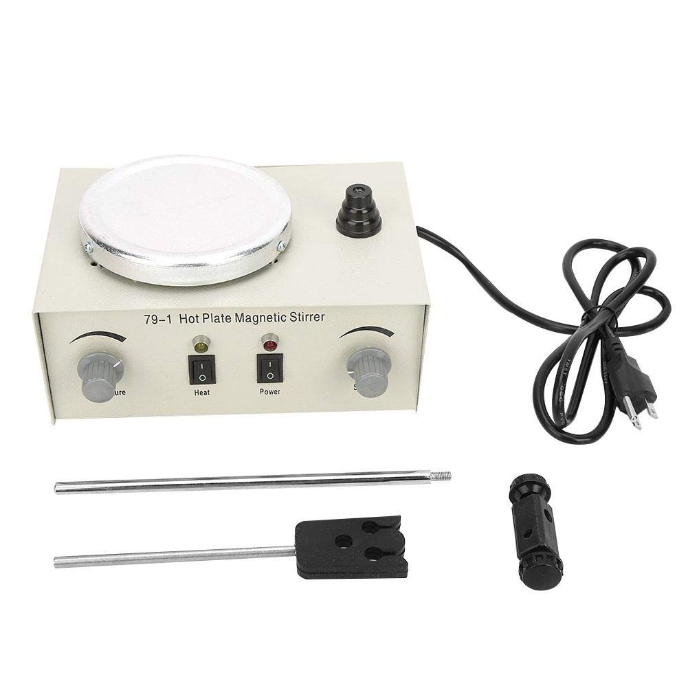 Magnetic Stirrer Lab Home Steady Aluminum Alloy Hot Plate Speed Adjusting Temperature Control Knob Mixer for Heating or Blending Liquid US Plug 110V