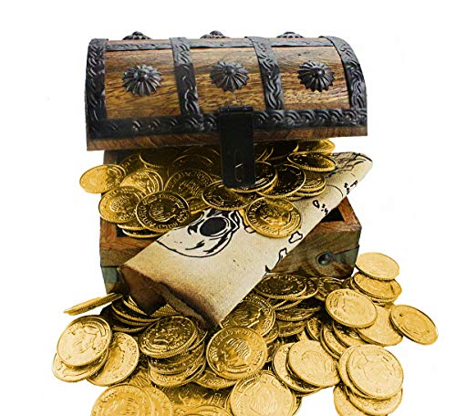 (Large Wooden Pirate Treasure Chest 144 Gold Plastic Coins Sail Pirates Map Antique Style Wood Box 6.5 x 4.5 x 5)