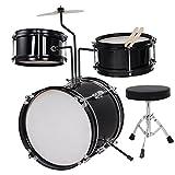 MegaBrand 3-Piece 8-Inch Kids Drum Set Kit w/ Cymbal Drum Throne Black