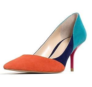 AL-321-Orange-37 SUNROLAN Maggie Women's Patchwork Pointed Toe High Heels Stiletto Dress Pumps Shoes US 7