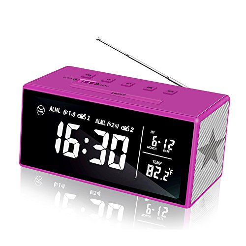 KABB Clock Radio, 7 Inches LCD FM Dual Alarm Clock Snooze, Sleep Timer, Dimmer, 1.4 Digital Clock Calendar Temperature Battery Backup Function Office Home Decor (2018 Edition) (Clock Radio For Kids)