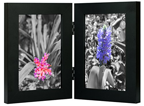 Golden State Art Decorative Hinged Table Desk Top Picture Photo Frame, 2 Vertical Openings, 4x6 inches with Real Glass (4x6 Double, Black) -