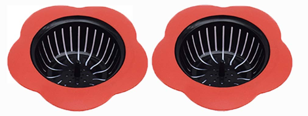"""Silicone Kitchen Sink Strainer 2 Pack, Pouring strainers,Drain FilterLarge Wide Rim 4.5"""" Diameter (4.5"""" Diameter, 2 Red)"""