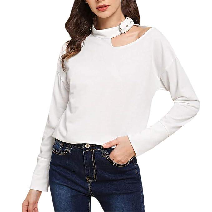 ... Manga Larga Camisa Ocio Confort Camisas Blusa Top chándales Abrigos Mujer Largos Sección Larga de la Mujer último Estilo de Moda en 2019: Amazon.es: ...