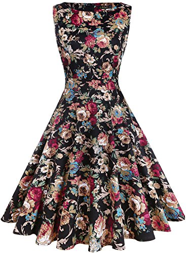 IHOT Vintage 1950's Floral Spring Garden Party Picnic Dress Party Cocktail Dress for Women Dark Apricot Floral X-Large