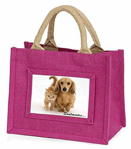 Advanta–Mini Pink Jute Tasche Dackel und Kitten Soulmates Little Mädchen klein Einkaufstasche Weihnachten Geschenk, Jute, pink, 25,5x 21x 2cm