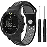 QGHXO Breathable Band for Suunto Core, Soft Silicone Adjustable Replacement Sport Strap Band with Row of Compression Molded Holes for Suunto Core Smart Watch, Fits 5.5