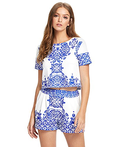 Floerns Women's Two Piece Outfit Suit Print Short Sleeve Top with Shorts Blue S