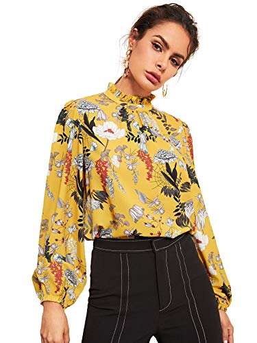 (Floerns Women's Floral Print High Neck Puff Long Sleeve Chiffon Blouse Yellow XS)