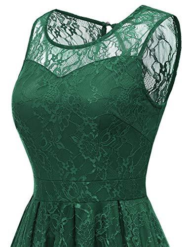 Green Damigella Pizzo Abito Maniche Retro 1950s Floreale Da Senza Partito Cocktail Vestito Donna Gardenwed Forest R6qx7g6