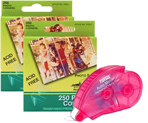 Scrapbook Photo Mounting Kit - Two Boxes of Clear Photo Picture corners with One Adhesive Auto mounts Roller dispenser with 350 Squares