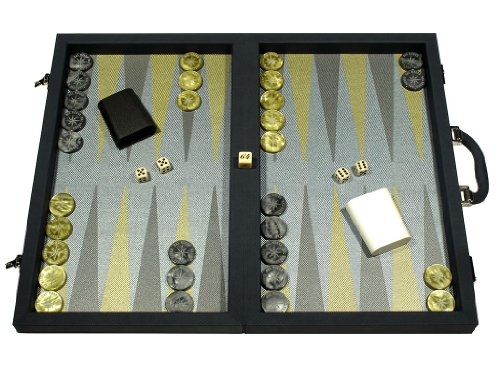 Dal Negro Composite Fiber Backgammon Set - (Attache Case) - Calypso Blue with Blue Field