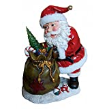 Santa Holding Gift Bag with LED Light Christmas Holiday Decor Figurine Polyresin 14.75'' inch