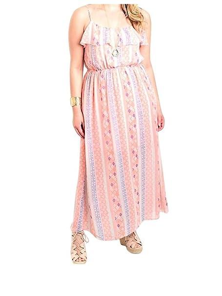 b49f39ce3f0f4 Plus Size Ruffle Bust Tribal Stripe Summer Maxi Dress (1x) at Amazon ...