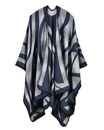 en Manteau Maille Couverture ZongSen Bleu Cardigan Femmes Cachemire Capes Chaud Poncho Foulard Fonc Chale IqntE