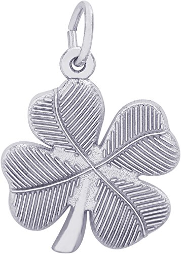 Rembrandt Sterling Silver Four Leaf Clover Charm on a Sterling Silver Rope Chain Necklace, 22